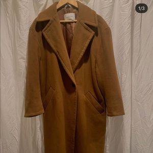 Aritzia tan wool coat